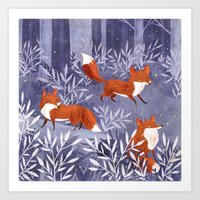 Foxes And Fireflies Art Print
