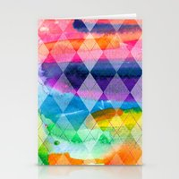 Argyle and Watercolor Abstract Stationery Cards