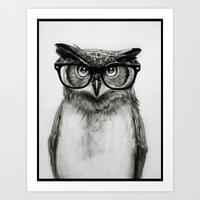 owls Art Prints featuring Mr. Owl by Isaiah K. Stephens