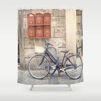 bike love::rome, italy Shower Curtain
