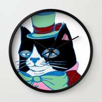 Dignified Cat Does Pastels Wall Clock