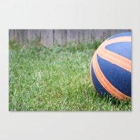 Basketball on Grass Canvas Print