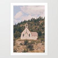 Old Church on a Hill Art Print