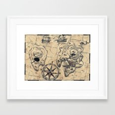 Old Nautical Map Framed Art Print