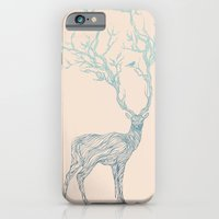 black iPhone & iPod Cases featuring Blue Deer by Huebucket