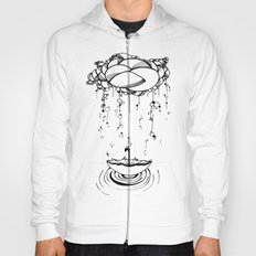 Abstract Whimsical illustration, Rain, cloud, umbrella, Black and white, pen and ink Hoody