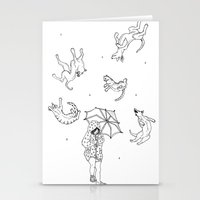 Its Raining Cats and Dogs  Stationery Cards