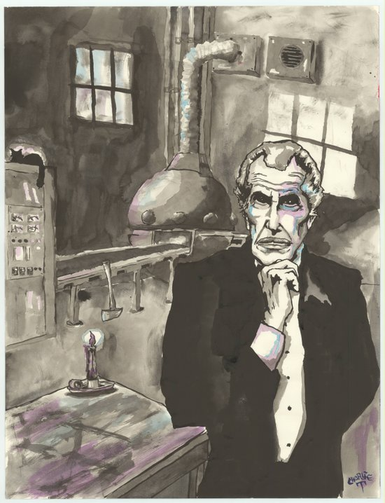 Portrait of Vincent Price in the Laboratory Art Print