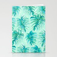 Paradise Palms Mint Stationery Cards