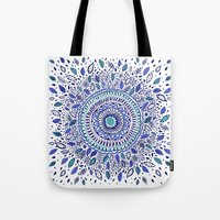 Indigo Flowered Mandala Tote Bag