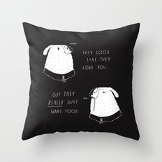 the emotional ups and downs of being a dog owner Throw Pillow