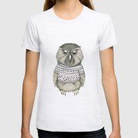Cute Owl Womens Fitted Tee Ash Grey SMALL