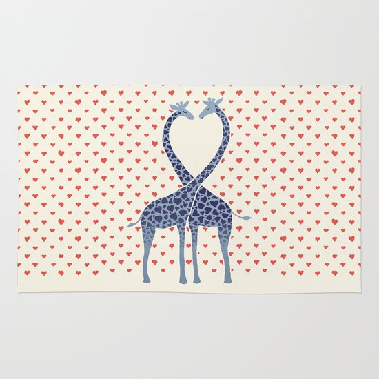 Giraffes in Love - a Valentine's Day illustration Area & Throw Rug