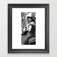 Girl on Moped  Framed Art Print