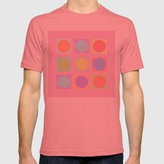Pastel Dots Mens Fitted Tee Pomegranate SMALL