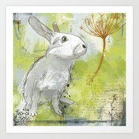 rabbit Art Prints featuring Rabbit by Melissa McGill