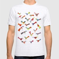 Birds Doing Bird Things Mens Fitted Tee Ash Grey SMALL