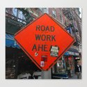 Sign Road Work Ahead Canvas Print