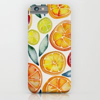 iPhone Cases featuring Sliced Citrus Watercolor by Cat Coquillette
