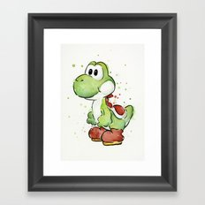 Yoshi Watercolor Mario Framed Art Print