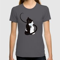White And Black Cats In … Womens Fitted Tee Asphalt SMALL