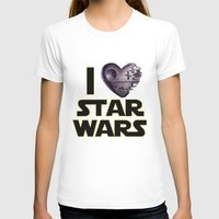 Love Star Wars  Womens Fitted Tee White SMALL