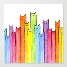 Cat Rainbow Watercolor Pattern Canvas Print
