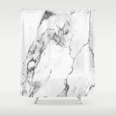 White Marble I Shower Curtain