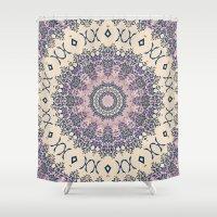 No. 20 Wisteria Arbor Way Regal Purple & Ivory Hugs and Kisses Mandala Shower Curtain