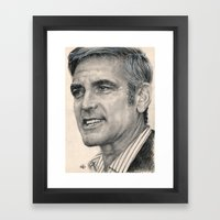 George Clooney Traditional Portrait Print Framed Art Print