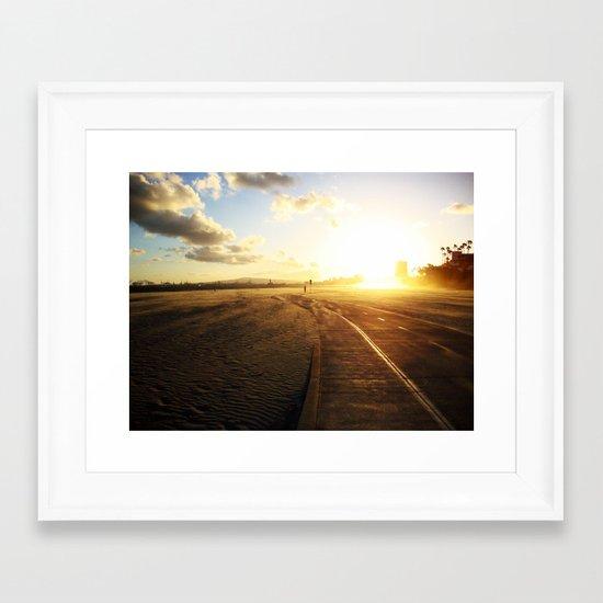 Run into the Sunset Framed Art Print