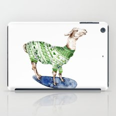 Llama in a Green Deer Sweater iPad Case