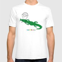 Crocodile Float Mens Fitted Tee White SMALL