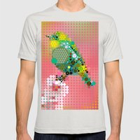 Green bird Mens Fitted Tee Silver SMALL