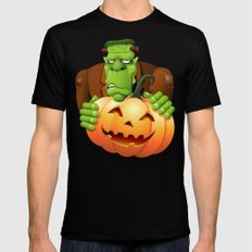 Frankenstein Monster Cartoon with Pumpkin Mens Fitted Tee Black SMALL