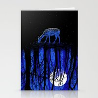 deep blue forest Stationery Cards