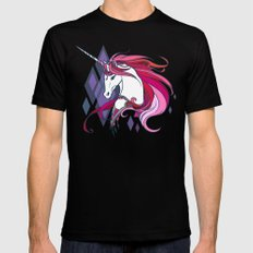 Pink Unicorn Mens Fitted Tee SMALL Black