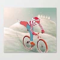 rushing home for christmas Canvas Print