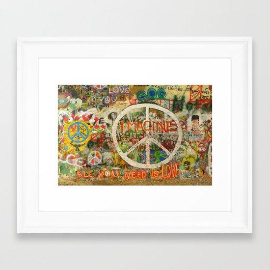 Peace Sign - Love - Graffiti Framed Art Print