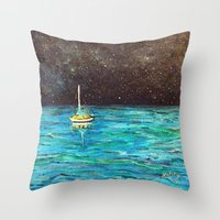 Sailboat Under The Stars Throw Pillow