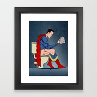 Framed Art Print featuring Superhero On Toilet by WyattDesign