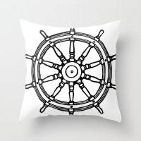 Ship's Helm - Captain's … Throw Pillow