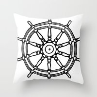 Ship's Helm - Captain's Wheel - Rudder Throw Pillow