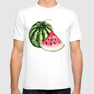Watermelon Pattern. Mens Fitted Tee White SMALL