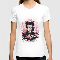 Lucky Kitty Womens Fitted Tee White SMALL