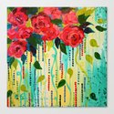 ROSE RAGE Stunning Summer Floral Abstract Flower Bouquet Feminine Pink Turquoise Lime Nature Art Canvas Print