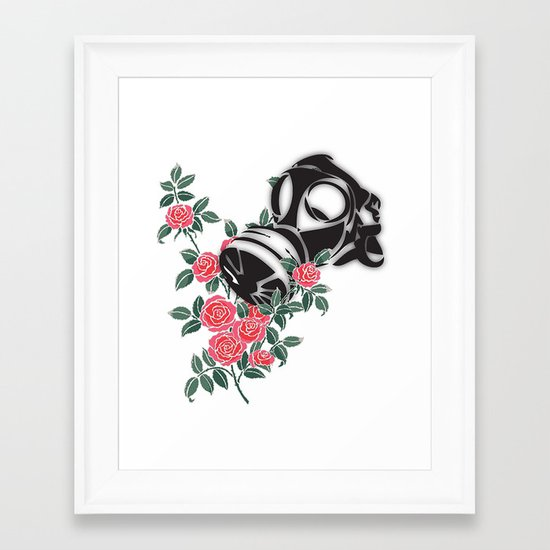 smell the roses - gas mask Framed Art Print