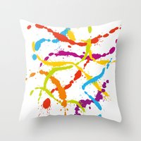 Splattered Rainbow [WHITE] Throw Pillow