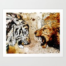 Lion vs Tiger Art Print
