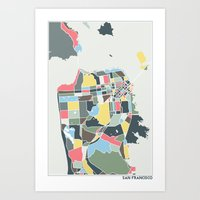 san francisco Art Prints featuring San Francisco. by Studio Tesouro